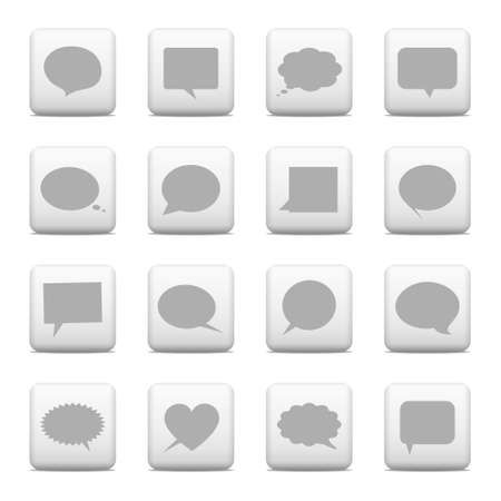Speech bubbles on gray buttons Illustration