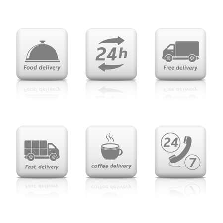 24 hours Service buttons  Delivery icons