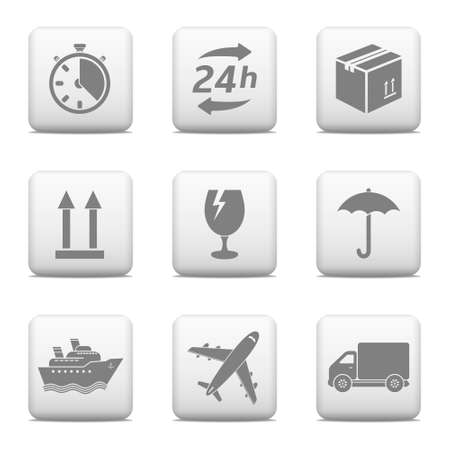 Logistic web buttons  Delivery icons Illustration