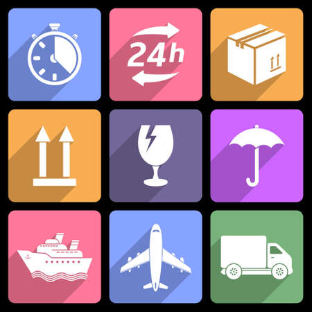 Shipping and delivery flat icons Vector