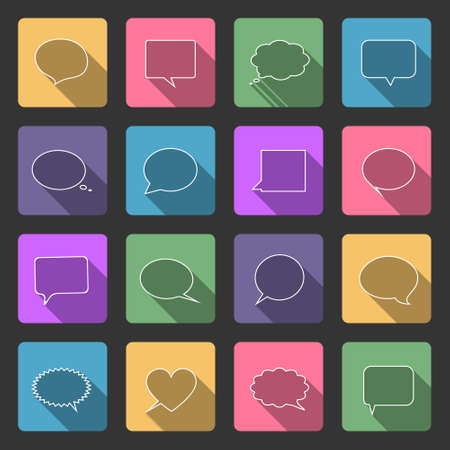 Speech bubbles flat icons set with long shadow