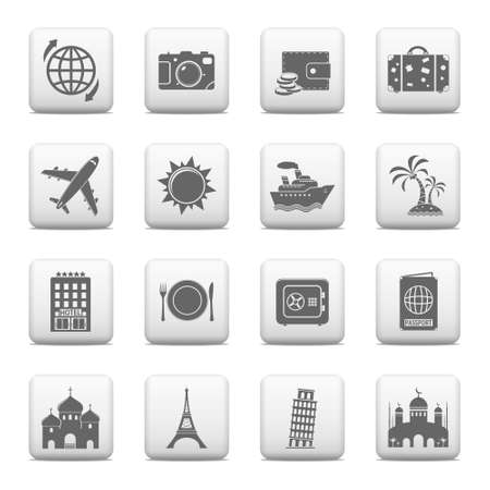 Web buttons, Travel and Landmarks icons Illustration