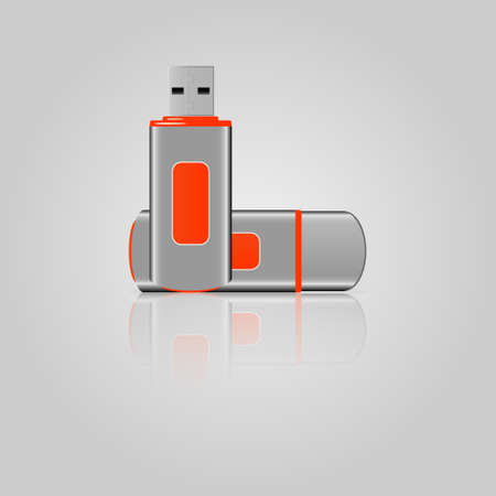 USB flash drive icons with reflection