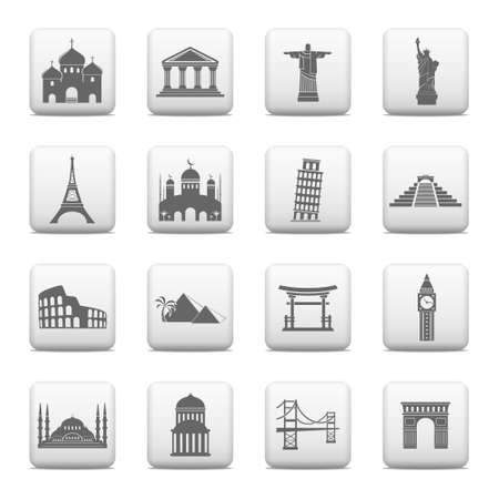 Web buttons, famous international landmarks icons