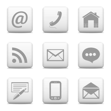 Contact web buttons set, email icons Illustration