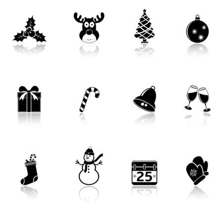 Christmas icons with reflection Vector
