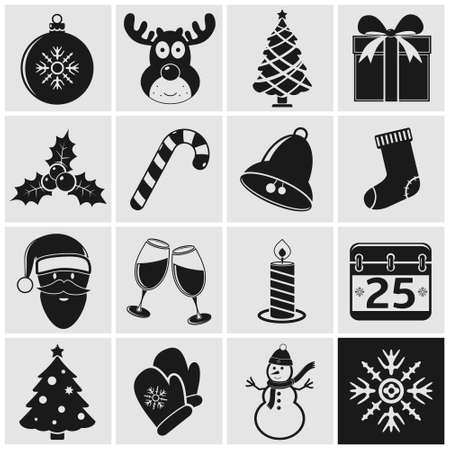 shopping champagne: Christmas and Winter icons set