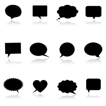 converse: Speech thought bubbles with reflection  Illustration