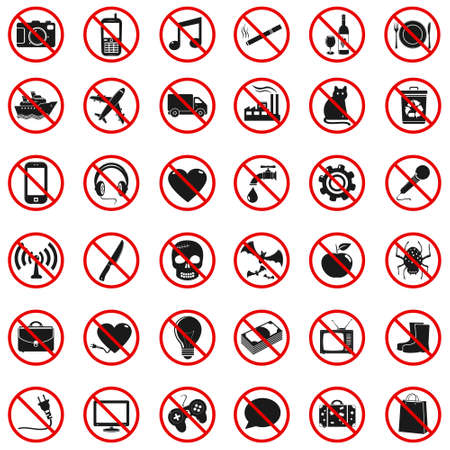 Set Prohibited Signs Vector