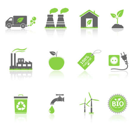 Ecology icons with reflection Vector