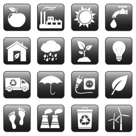 Ecology icons, web buttons Vector