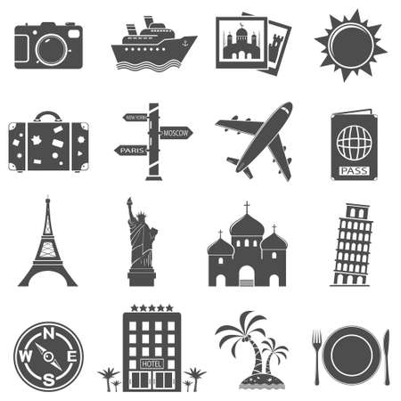 tree world tree service: Travel and landmarks icons set