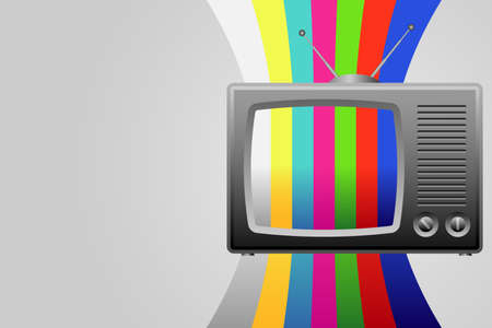 Retro TV with test image background Vector