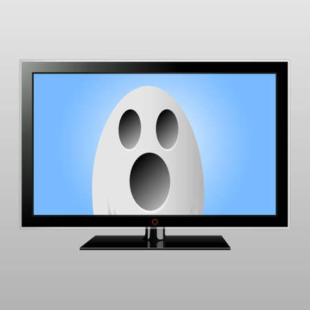 Ghost on TV screen Illustration