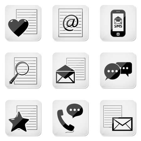 email contact: e-mail icons, contact buttons set