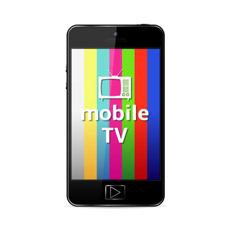Vector smart-phone with mobile TV sign