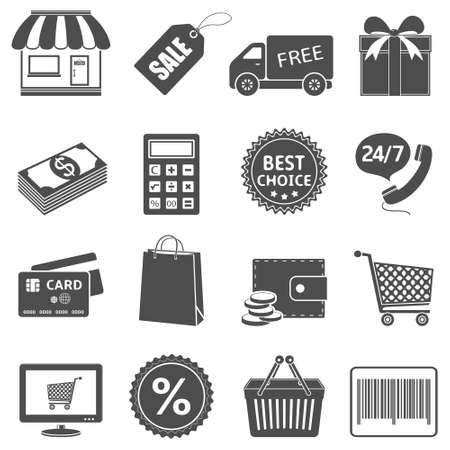 shopping trolley: Shopping icons set  Vector