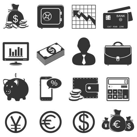 money pig: Finance and business icons set Illustration