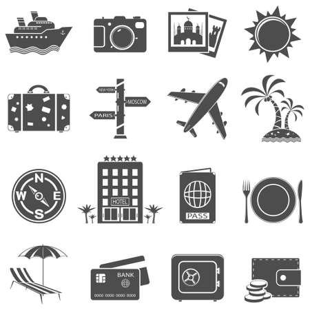 tree world tree service: Travel and tourism icon set