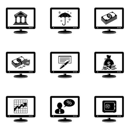 Monitor icons with banking signs Stock Vector - 26330113