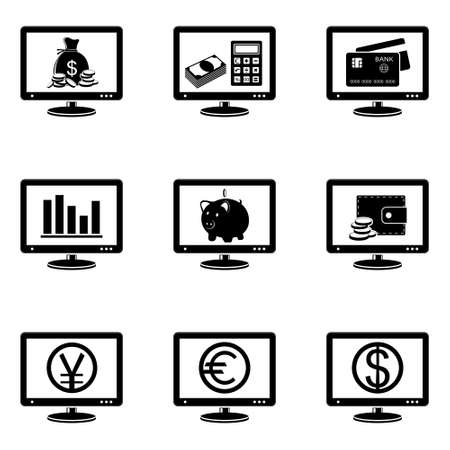 Monitor icons with finance signs on screen Vector