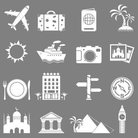 travel and landmarks icons set Vector