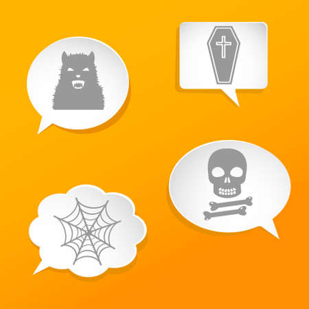 Speech bubbles with Halloween signs Vector
