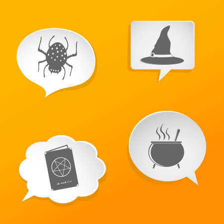 Halloween symbols on speech bubbles Vector