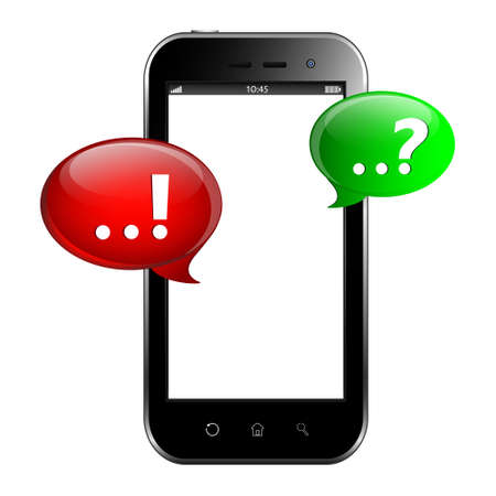 Question and answer marks with speech bubbles on smartphone screen