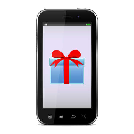Mobile phone with gift on screen
