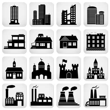 Set of various building icons Vector