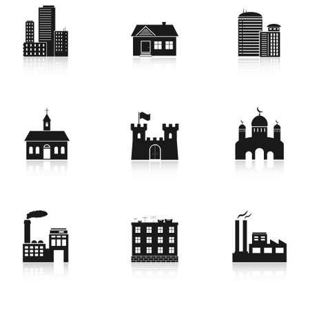 様々 な建物のアイコン