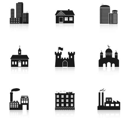 castle silhouette: various buildings icons Illustration