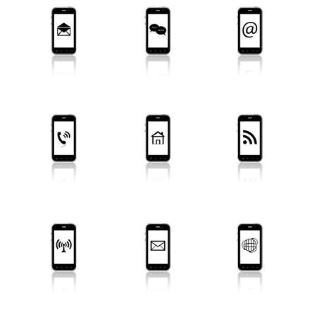 Smar-phone icons with contact signs and email icons on screen Illustration