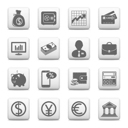 Web buttons, finance and banking icons Vector