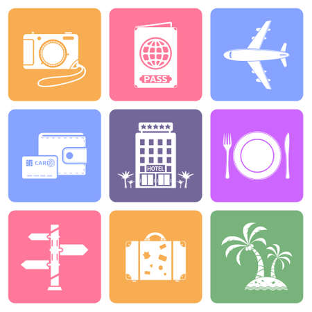 Travel icons set, flat design vector