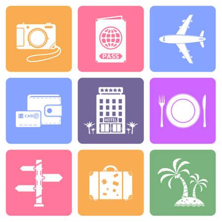 Travel icons set, flat design vector