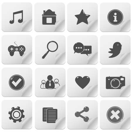 Contact buttons set, communication icons Vector