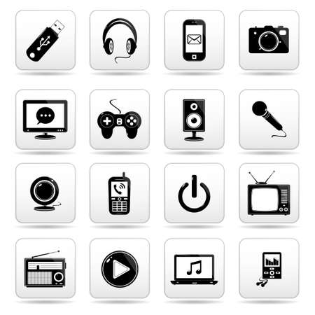 Technology icon on square white button collection Vector