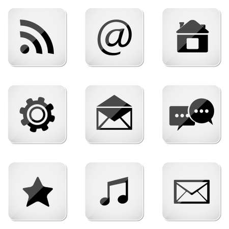 Contact buttons set, e-mail icons