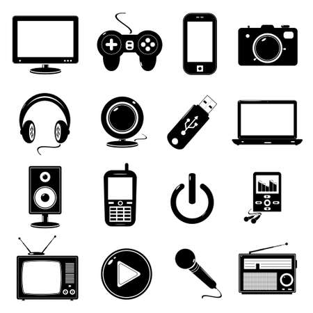 computer game: Technology icons Illustration