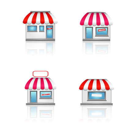 Shop icons with awnings  Vector