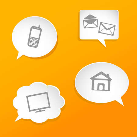speech bubbles with contact icons Illustration