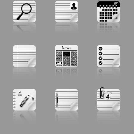 Document icon set with reflection Vector
