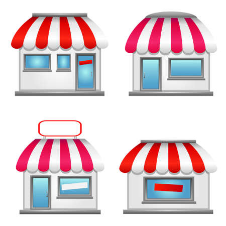 convenience: Shop icons with awnings