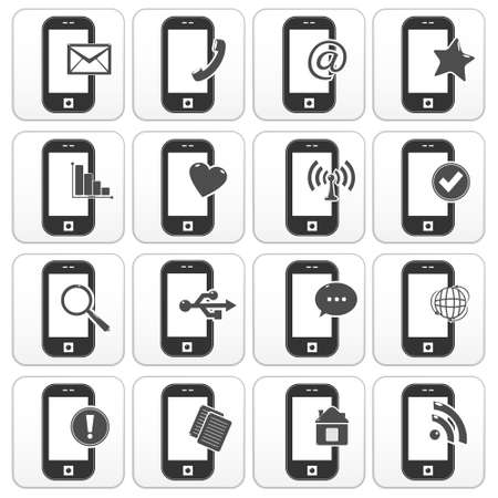 Smartphone icons with social network signs Vector