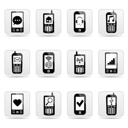 phone icon: Smart-phone icons, buttons for website