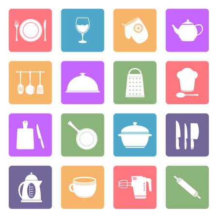 Kitchen utensil flat icons set Vector