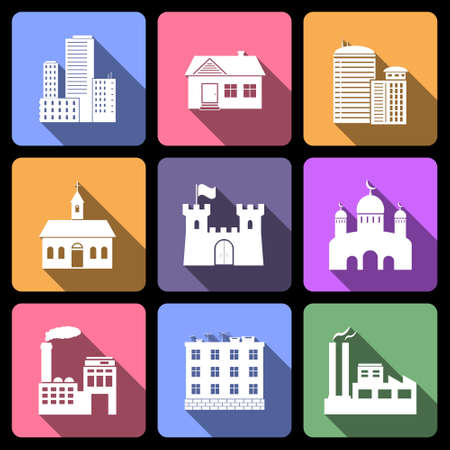 Building flat icons Vector