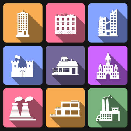 church group: Building flat icons Illustration
